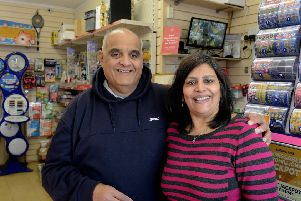 ks190658-2Selsey Lottery Newsagent  phot kate'Kandarp and Priti Patel from Pretty's Newsagents which issued the winning ticket.ks190658-2 SUS-190312-220931008