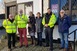 PCSO Jason Lemm (second, right) with Steve Morley (left) and his new Midhurst community speedwatch group; councillor John Travers (second, left), Mandy Carr (third, left), Sheila Horne (third, right) and Glenn Jones (right). Photo: Chichester Police