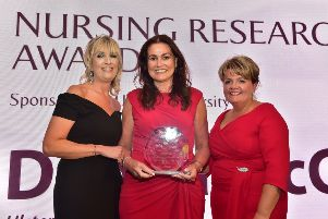 Pictured (L-R) are: Professor Sonja McIlfatrick, Ulster University, Donna McConnell, winner of the Nursing Research Award and Janice Smyth, Director of the RCN in Northern Ireland.