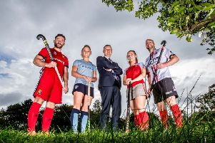 Pictured at the launch of the EY Hockey League in Dublin are (L to R): Sam Grace, UCC; Chloe Watkins, Monkstown; Frank O'Keeffe, Managing Partner, EY Ireland; Ruth Maguire, Pegasus and Peter Caruth, Annadale.