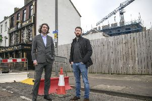 Paul McNaught (left) from the Department for Communities (DfC) and Simon Crawley, the owner of Quays Bar in Portrush.  An award of �354,000 in Urban Development Grant funding from DfC will help the Quays Bay to build an extension, making use of vacant land in the town centre.