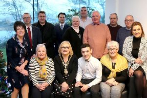 Eunan McGlinchey with friends and family members at a civic reception hosted in his honour by the Mayor of Causeway Coast and Glens Borough Council Councillor Brenda Chivers.