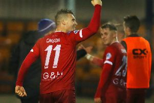 Josh Carson celebrates his late winner at Ards
