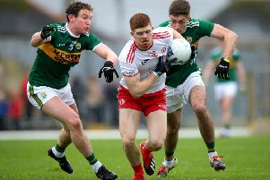 Kerry's Tadhg Morely and Adrian Spillane with Cathal McShane of Tyrone