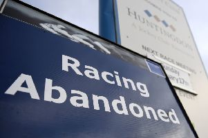 A view of a sign at Huntingdon Racecourse