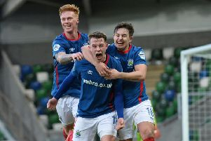 Linfield's  Kyle McClean celebrates his later winner. Photo Colm Lenaghan/Pacemaker Press