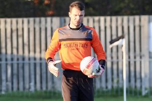 Little Common goalkeeper Matt Cruttwell kept a clean sheet in yesterday's draw at home to Arundel. Picture courtesy Joe Knight