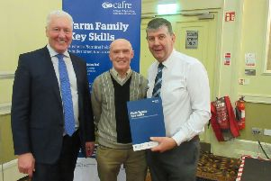 Sharman Dougan from Collone, Co Armagh pictured discussing information gained when he attended the 'Making Tax Digital' seminar in Armagh with Kenneth Johnston of CAFRE who in partnership with Rural Support are offering a number of seminars being held throughout Northern Ireland in February 2019. Also included is Lowry Grant of PKF/FPM who delivered the seminar.