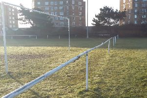 The goal at the western end of The Polegrove, behind which Bexhill United Football Club is hoping to install a hard-standing spectator path