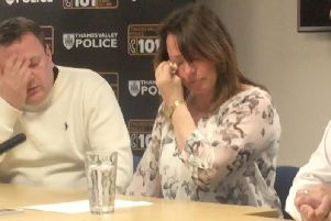 Leah's parents Claire and John Croucher speaking at Milton Keynes Police Station