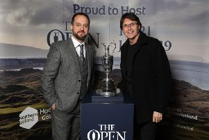 Guests had the opportunity to get their picture taken with the Claret Jug as in January Tourism NI marked the start of the official build-up to The 148th Open at Royal Portrush with a celebration of Northern Irish talent from sport, music, arts and screen at Titanic Belfast. Pictured are Martin Slumbers and Jim Crone. Pic by PressEye Ltd.