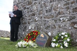 Rev Fr Raymond McCullagh at a special ceremony to remember those who lost their lives in the Girona tragedy. The event was held at St Cuthbert's Church near Dunluce Castle on the Causeway Coast, not far from Lacada Point where the galleass of the Spanish Armada foundered and sank in 1588. A memorial stone was unveiled at the church two years ago at the site of an unmarked grave where some of the Girona sailors were buried.