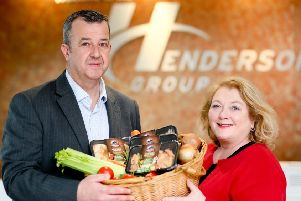 Pictured: Steven Kennedy, Henderson Group and Lorna Robinson, Cloughbane Farm. Following an investment of over �200,000, the Tyrone based company has launched its first range of meat-free products which has secured listings with the Henderson Group.