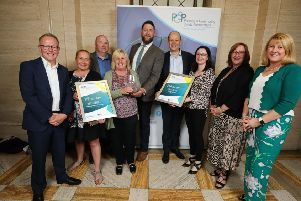 Representatives from Causeway Coast and Glens Policing and Community Safety Partnership (PCSP) pictured at the first ever PCSP Community Safety Awards with the award for Excellence in Collaboration.