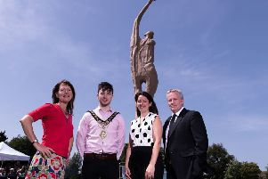 Sara Cunningham-Bell, artist; Sean Bateson, Mayor of Causeway Coast and Glens Borough Council; Professor Karise Hutchinson, Provost, Ulster University Coleraine; Professor Paddy Nixon, Ulster University Vice-Chancellor