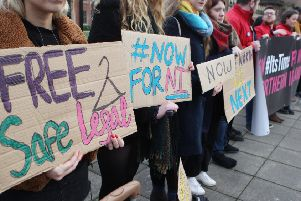 Supporters of liberalising NI abortion law, pictured in Belfast in 2018