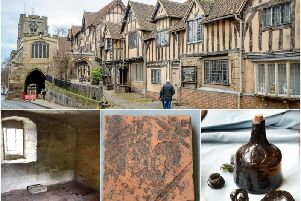 More than 80 artifacts were discovered under the chapel floor at the Lord Leycester Hospital in Warwick. Bottom three photos by Gill Fletcher.