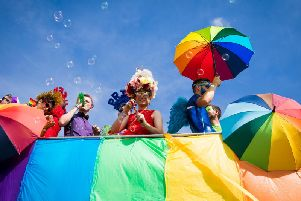 Parade goers during Brighton Pride 2018 (Photo by Tristan Fewings/Getty Images)