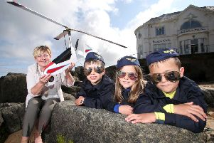 Pictured launching this year's Air Waves Portrush line-up is The Deputy Mayor of Causeway Coast and Glens Borough Council, Alderman Sharon McKillop and budding young pilots from Portrush Sorley Jeiger (6), Jessie Cleland (5) and Lucas Cleland (7).