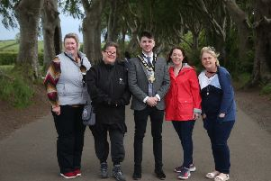 The Mayor of Causeway Coast and Glens Borough Council Councillor Sean Bateson pictured with Councillor Sandra Hunter, a representative from the Dark Hedges experience, Clare Quinn, Trade Engagement Officer, Causeway Coast and Glens Borough Council and Councillor Margaret-Anne Mc Killop