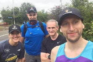 """Lucy Wheeler, Justyn Christer, Gary Hodsden and Simon Byford will team up to complete the last event in the """"22 Crazy Days for Crohn's and Colitis UK"""" charity challenge next month."""