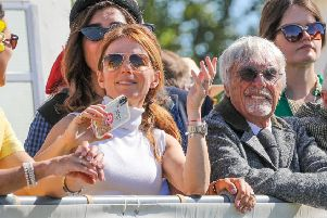 Geri Horner (formally Halliwell) with Bernie Ecclestone at Goodwood Revival 2019. Photo by David M. Benett/Dave Benett/Getty Images