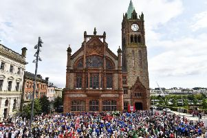 The large crowd at the O'Neill's Foyle Cup official opening in the Guildhall Square this summer. (Keith Moore)
