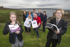 The Mayor of Causeway Coast and Glens Borough Council Councillor Sean Bateson pictured launching the Digital Youth programme at Dominican College in Portstewart with (back row) Bridget McCaughan, Economic Development Officer, Causeway Coast and Glens Borough Council, Carol Fitzsimons, CEO, Young Enterprise Northern Ireland, Martin Clark, Business Development Manager, Causeway Coast and Glens Borough Council, Rosemary Ronan, Principal of Dominican College, Portstewart, (middle row) Naomi McLaughlin, Zymplify, Paul Stevenson, Allstate NI and (front row) pupils from Dominican College