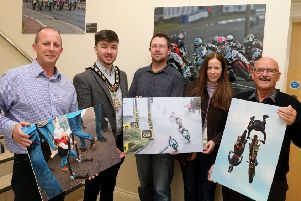 The Mayor of the Causeway Coast and Glens Borough Council, Councillor Sean Bateson pictured with Fergus Mackay, Event Operations Manager of the NW200, Dr Nicholas Wright, Museum Service Community Engagement Officer, Jane Blakely, winner in the Open Category and Wilbert McIlmoyle, one of the People's Choice winners in this year's 'Capture the Moment' International NW 200 photography competition