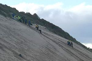 The rescue operation to rescue the male paraglider