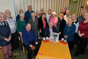 Centre, Bill Carter celebrates his 100th birthday with fellow Market Harborough Bridge Club members at the Angel Hotel.