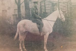 Tommy Bradley of Coalisland who played gaelic football for Tyrone in 1913, on horseback while serving in the Royal Field Artillery