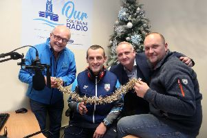 Oran Kearney Coleraine FC Manager who opened 'Our Coleraine Radio' Station' with Station Manager Denis McNeill, Jamie Hamill Coleraine BID Manager and Adrian Johnson, Breakfast Show presenter.PICTURE KEVIN MCAULEY/MCAULEY MULTIMEDIA