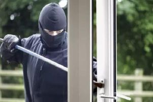 Burglar forces window of property
