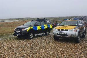 A bomb disposal team carried out a controlled explosion on Medmerry Beach in Selsey. Photo: Selsey Coastguard Rescue Team