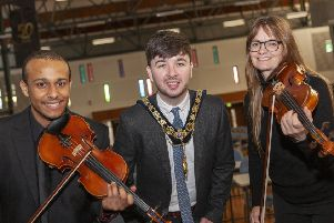 Members from the Ulster Orchestra visited the Coleraine Campus of the Ulster University today, in advance of their show at The Diamond Theatre. They were joined by local councillor and current Mayor of Causeway Coast and Glens, Sean Bateson. Pictures by Darron Mark Photography - DMfotoNI