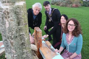 Pictured at the launch of The Dreamer's Space exhibition and outdoor trail at Flowerfield Arts Centre are Chris Springhall, the Mayor of Causeway Coast and Glens Borough Council Sean Bateson, Cultural Services Development Manager Desima Connolly and artist-in-resident Corrina Askin