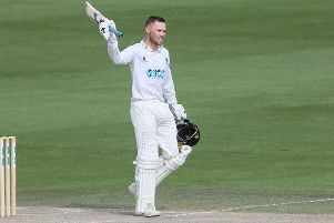 Salt acknowledges the Hove crowd after reaching his hundred off 87 balls against Derbyshire. Picture: Sussex Cricket