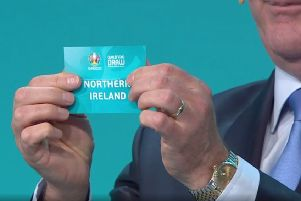 Images from the BBC of the draw for the qualifying groups for Euro 2020, 02-12-18