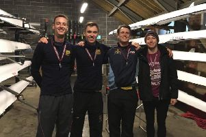 Peterborough City's winning open coxless four of Mike King, George Bushell, Damen Sanderson and Jack Collins .
