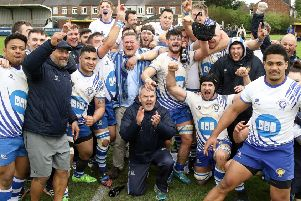 Peterborough Lions celebrate winning promotion to the National League.