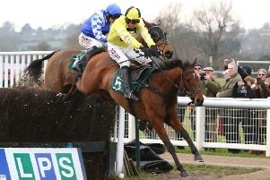 Ange Des Malberaux leads Oneida Tribe over the last in the Trial RacingTV For Free Now Handicap Chase. Picture: www.dwprattracingphotography.co.uk
