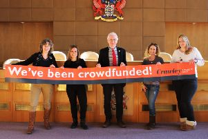 Cllr Peter Smith with Tracy Frake and Viv Evans from Broadfield Community Centre (left) and Maria Cook and Charlotte Gover from Autism Support Crawley (right)