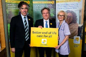 Crawley MP Henry Smith and actor Stephen Mangan, pictured with Patricia McDonnell, a Marie Curie rapid response healthcare assistant, are supporting the Marie Curie appeal