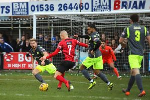 Kettering Town and AFC Rushden & Diamonds met in the first derby of the season on New Year's Day at Latimer Park. Picture by Peter Short