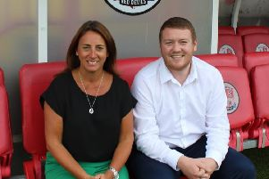 Operations Director Kelly Derham alongside Commercial and Communities Manager Joe Comper 'Picture courtesy of Crawley Town FC
