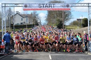 The starting line of the 2018 Larne Half Marathon. INLT 12-004-PSB