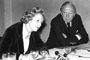 Margaret Thatcher at a press conference at the Dunadry hotel  in Co Antrim with her friend and colleague Airey Neave' in June 1978. Pacemaker Press