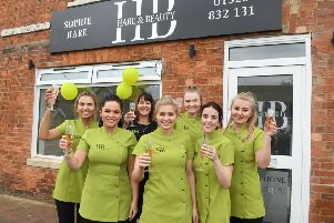 Hare and Beauty move to new premises. L-R Libby Edwards, Sophie Parslow, Amanda Hare, Sophie Hare - owner, Maisie Cox, Amy Taylor, Brooke Sorrell. EMN-190318-091253001