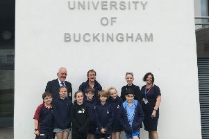 Swanbourne House School pupils after helping University of Buckingham medical school students with their exams